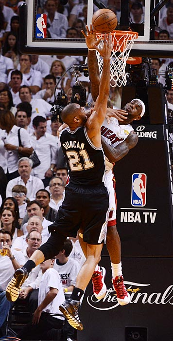 Tim Duncan had slightly better luck attacking LeBron James at the rim than did Tiago Splitter.