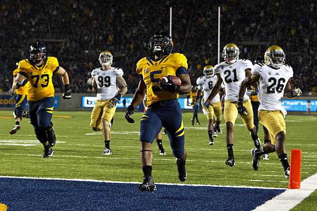 Cal running back Brendan Bigelow (5) averaged 9.8 yards per carry during his sophomore season in '12.