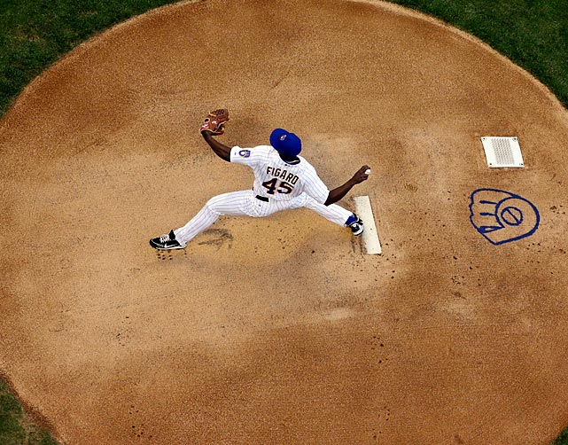 Brewers starter Alfredo Figaro pitches in the first inning of his team's 5-4 win against the Phillies on June 7 at Miller Park.