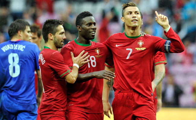 Cristiano Ronaldo (right) celebrates after scoring against Croatia during a friendly in Switzerland.