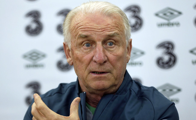 Ireland's Giovanni Trapattoni speaks at a press conference in New York ahead of Tuesday's friendly.