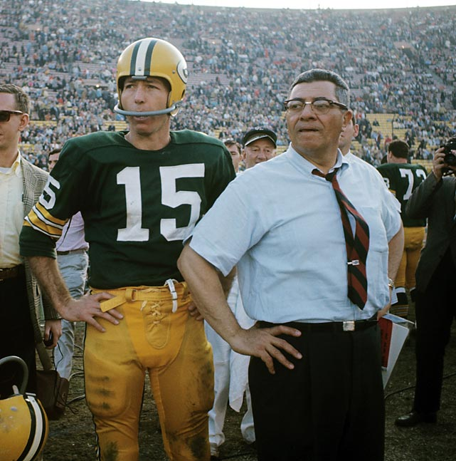 Lombardi with Starr on the sidelines during the final seconds of the Packers' Super Bowl I victory over the Kansas City Chiefs. Green Bay would go on to win Super Bowl II the following year as well, giving Lombardi an astounding five NFL Championships in a seven year span from 1961-1967.