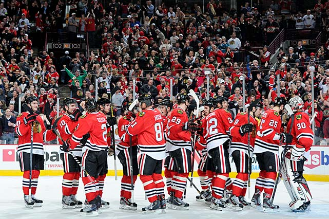 "A come-from-behind 2-1 win over the San Jose Sharks on February 22 marked the Blackhawks' 17th consecutive game in which they'd earned at least one point. Their streak eclipsed Anaheim's NHL record start in 2006-07. At 14-0-3, Chicago showed few signs of slowing down. Said veteran Dallas Stars winger Ray Whitney: ""They looked like they were already 20 games into the season [after the first week]."""