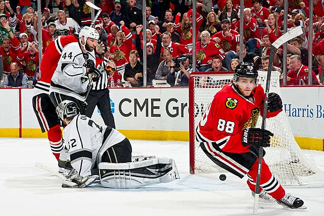 The Blackhawks met the defending Cup champions in the conference finals. The Kings, who had come into the playoffs as a No. 5 seed, needed six games to beat St. Louis in the first round, then found themselves in a tough battle with San Jose that went seven. Worn down, LA's' scoring punch ran dry vs. Chicago. Meanwhile, the Blackhawks' stars, who had been stifled through most the playoffs, began to reawaken. In Game 5, a determined Kane capped off a hat trick by scoring in double OT, sending the Hawks to the Stanley Cup Final.