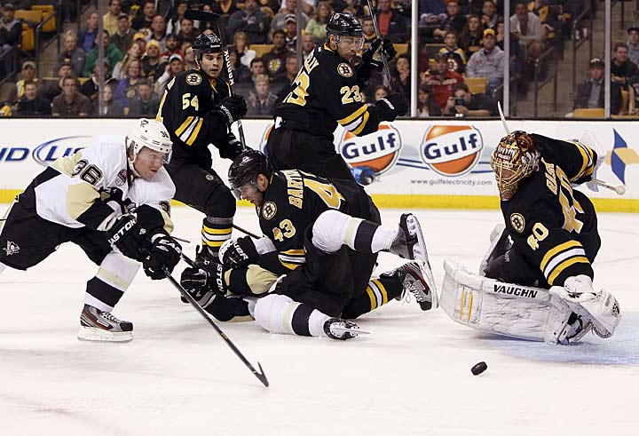 For the third time in three tries during the regular season, the Bruins fall to the Penguins by a single goal, losing this one on home ice, 3-2, in an afternoon tilt on April 20. It is especially frustrating because Boston outshoots Pittsburgh, 40-24, but just cannot beat the team that seems to be its unyielding nemesis, not to mention the prohibitive Stanley Cup favorite out of the Eastern Conference. Particularly galling: Boston keeps Sidney Crosby and Evgeni Malkin off the scoreboard for the entire game, a rare achievement, but Jussi Jokinen records a goal and two assists for the Pens.