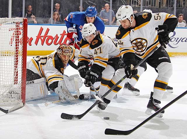 The Bruins finish off the Rangers with a 3-1 win in Game 5 to advance to the Eastern Conference Finals. Rookie defenseman Torey Krug (No. 47), who has all of three regular-season games under is belt, appears in the series only because Boston's defense corps was blitzed with injuries, scores the opening goal of the game, becoming first rookie defenseman in NHL history to score goals in four of his first five games. Krug, a recently-turned 22-year old, achieves the feat in one playoff series.
