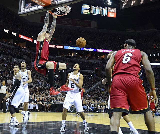 Chris Anderson didn't provide his usual energy for the Heat, finishing with just two points on this dunk.