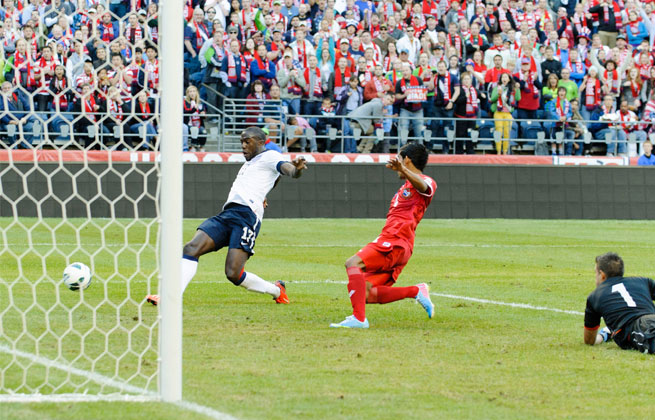 Jozy Altidore (left) put the U.S. up 1-0 in the first half against Panama on Tuesday.