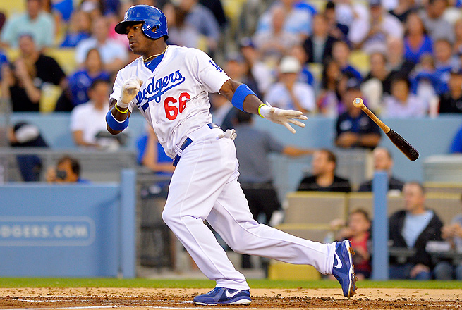 In his first nine games in the majors, Yasiel Puig is hitting .471 with four home runs and nine RBI.