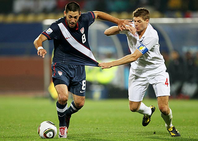 Dempsey battles with English captain Steven Gerrard as the United States pulled out a 1-1 draw with England in a group stage match at the 2010 World Cup in South Africa.