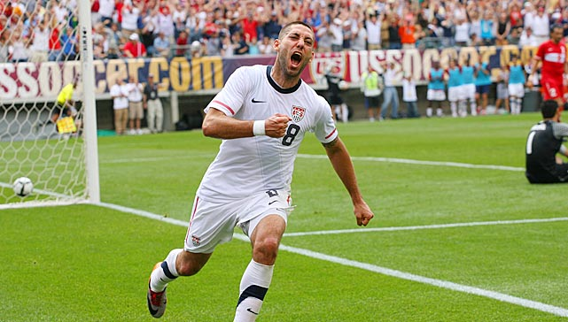 Dempsey celebrates his goal during a World Cup warm-up match against Turkey in Philadelphia.