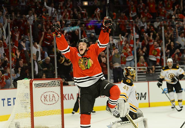 In pinball fashion, Andrew Shaw scored the game-winner at the 12:08 mark of the third OT -- by deflecting the puck into the net after Michal Rozsival's shot was tipped by Dave Bolland. The goal ended the fifth-longest game in Stanley Cup Final history.