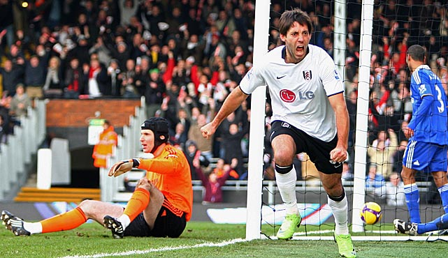 Dempsey celebrates after scoring the opening goal during a league match between Fulham and Chelsea at Craven Cottage.