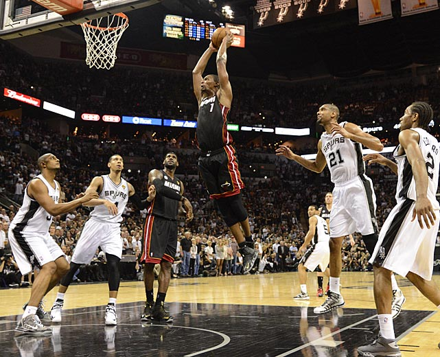 With Chris Bosh throwing down and ending the night with 20 points, Miami's Big Three combined for 85 points.
