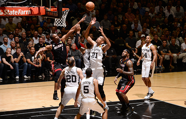 Tim Duncan's Spurs struggled to score against a Heat defense that blocked seven shots in Game 4.
