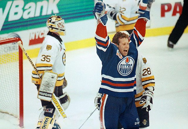Petr Klima scored 15:13 into the third overtime period to lift the visiting Oilers over the Bruins in a game that remains the longest in Finals history. The Oilers went on to win the series in five games.