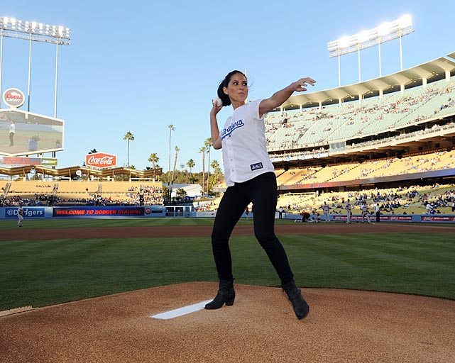 The actress, working on her beanball for the next time the Arizona Diamondbacks come to town...