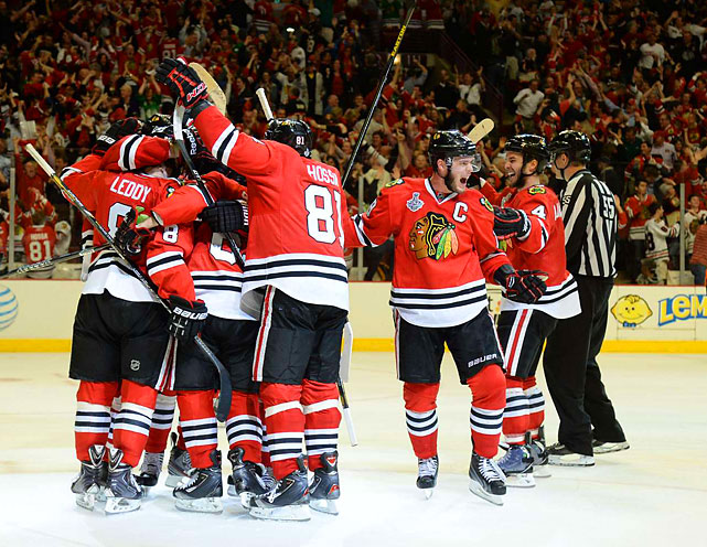 The Blackhawks' 3 OT victory on June 12 was the eighth such lengthy Finals game -- the second for the 'Hawks. The first time was in Game 3 in 1931 (not pictured). Cy Wentworth scored the winning goal in the third overtime one game after a Game 2 double overtime victory. The Blackhawks only won those two games, though, and the Canadiens took the series by winning the final two games. In a playoff run defined by extra hockey, the Canadiens had also played three overtime games in the five-game semifinals.