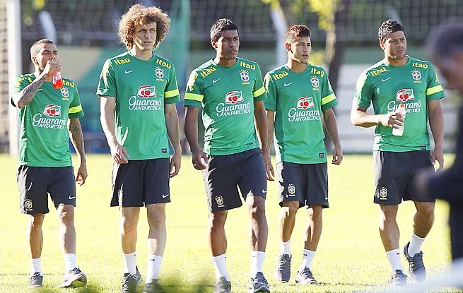 Brazil's (left to right) Dani Alves, David Luiz, Paulinho, Neymar and Hulk train earlier this week.