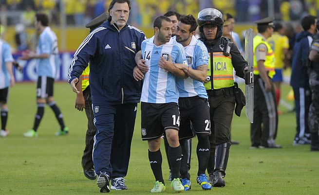 Argentina's Javier Mascherano leaves the field after being sent off against Ecuador on Tuesday.
