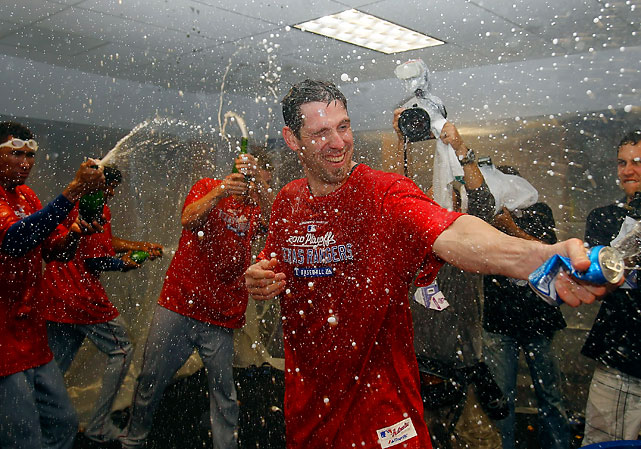The Rangers celebrate a Game 5 ALDS victory that sent them to the ALCS.