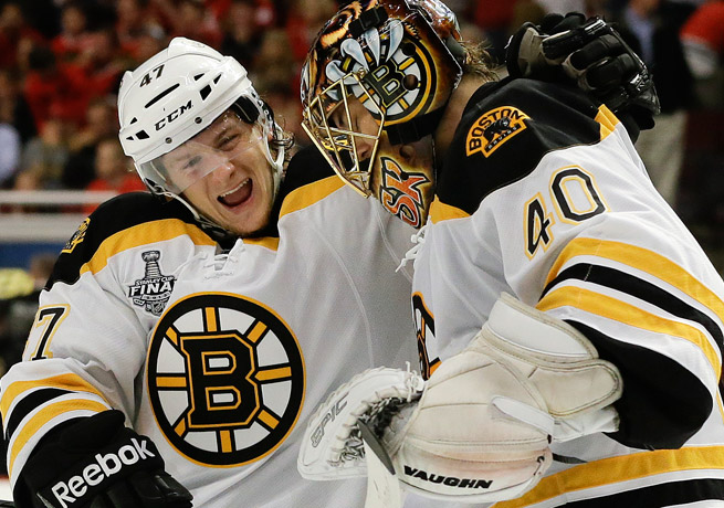 Torey Krug (left) and Tuukka Rask celebrate after Boston's 2-1 overtime win in Game 2 on Saturday.