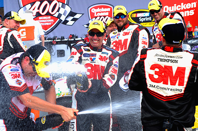 Greg Biffle's win earned Ford its 1,000th victory across NASCAR's three national series.