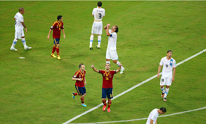 Robert Soldado scored Spain's second goal in a 2-1 win against Uruguay in the Confederations Cup.