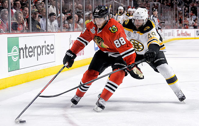 Patrick Kane says the Blackhawks' unfamiliarity with the Bruins has been a factor in the Cup final.