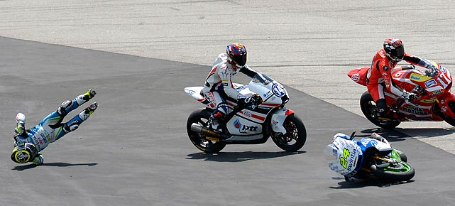 Spanish Moto2 rider Tony Elias crashes during the Grand Prix race at the Montmelo racetrack near Barcelona, Spain.