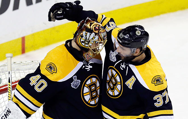 Tuukka Rask (left) made 28 saves and Patrice Bergeron scored one of Boston's two goals.