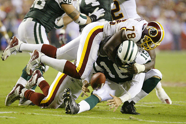 Smith sacks Vinny Testaverde in a Jets-Redskins contest on Sept. 4.