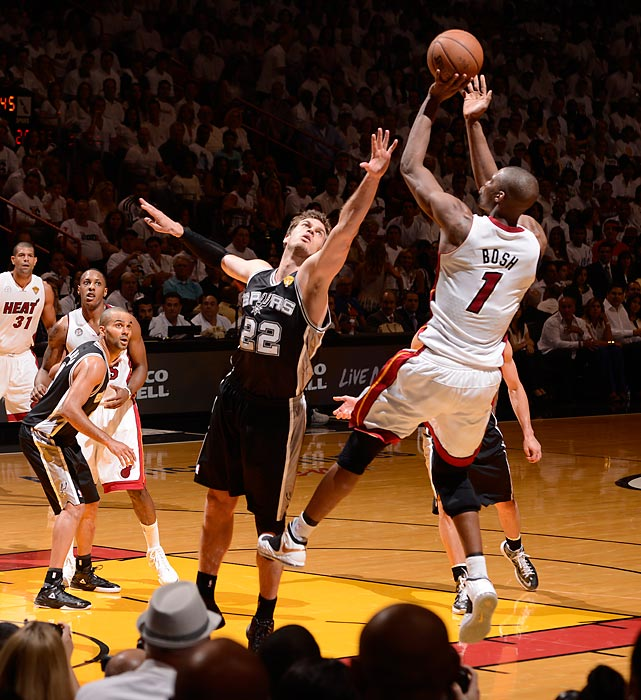 Miami's Chris Bosh pulls up for a fade-away jumper in front of Tiago Splitter.