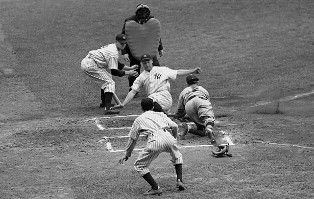 In a 5-1 Yankees victory over the St. Louis Browns on May 3, 1938, Gehrig steals home.