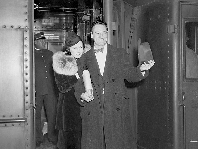 After agreeing to terms with the Yankees, Gehrig and his wife depart for training camp in St. Petersburg in March 1937.