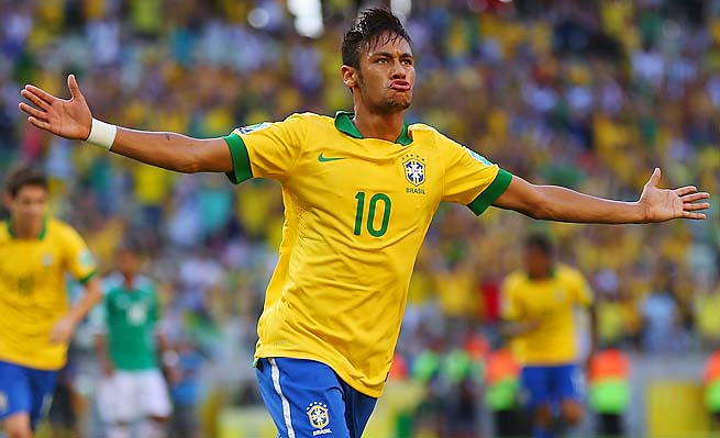 Neymar scored in the ninth minute and set up a stoppage-time goal for Brazil.