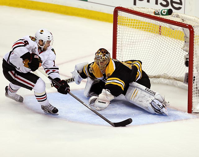 Game 4 in Boston was a bit of a shocker as both teams, usually sound defensively, ended up in a wild, sloppy, see-saw battle the produced a total of 11 goals. After being shut out by Tuukka Rask in Game 3, the Blackhawks' offense erupted, peppering Boston's goalie with 47 shots while putting six past him. Rask had given up only five goals in his previous three games.