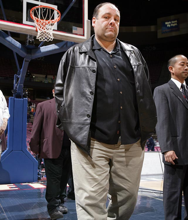 James Gandolfini attends the game between the New Jersey Nets and the Indiana Pacers at the Continental Airlines Arena in East Rutherford, NJ. The Nets lost 101-91.