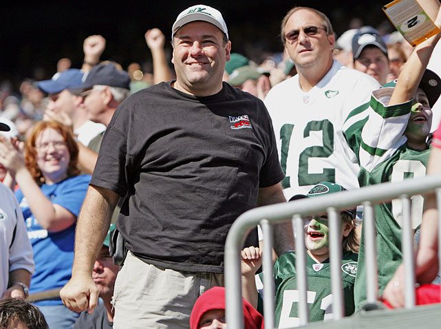 James Gandolfini and his son Michael watch the New York Jets game against the Indianapolis Colts at Giants Stadium in East Rutherford, NJ. The Jets lost 31-28.