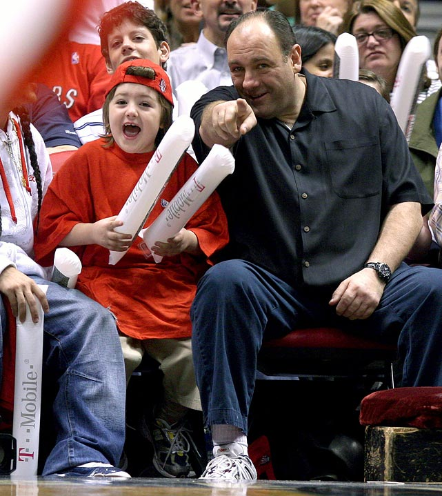 James Gandolfini and his son Michael attend Game 6 of the Eastern Conference quarterfinals between the New Jersey Nets and Toronto Raptors at the Continental Airlines Arena in East Rutherford, NJ. The Nets won 98-97.