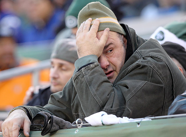 James Gandolfini reacts to the New York Jets play against the New York Giants at MetLife Stadium in East Rutherford, NJ. The Jets lost 29-14.