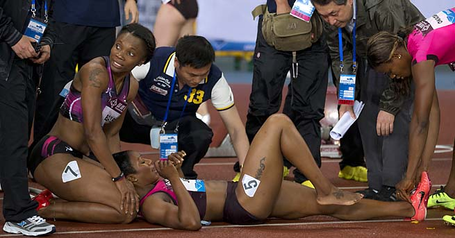 Carmelita Jeter hasn't run since suffering an injury in a May 18 race in Shanghai.