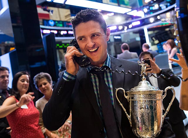 "The U.S. Open-winning golfer on the floor of the New York Stock Exchange after joining the cast of CNBC's ""Squawk on the Street"" as a guest in New York."