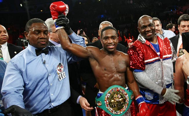 Adrien Broner celebrates after defeating Gavin Rees in February.