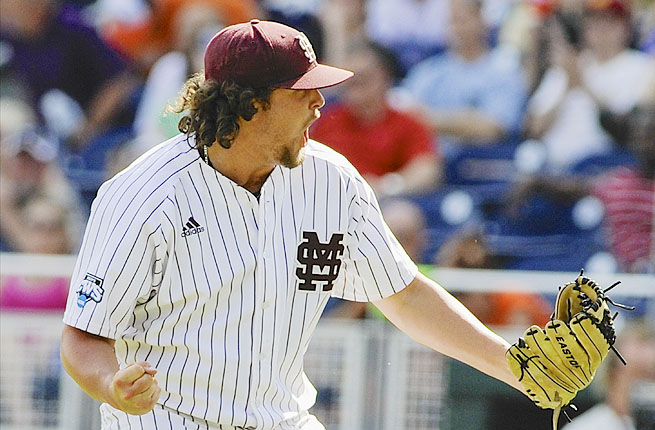 Mississippi State closing pitcher Jonathan Holder reacts after the final out against Oregon State Friday.