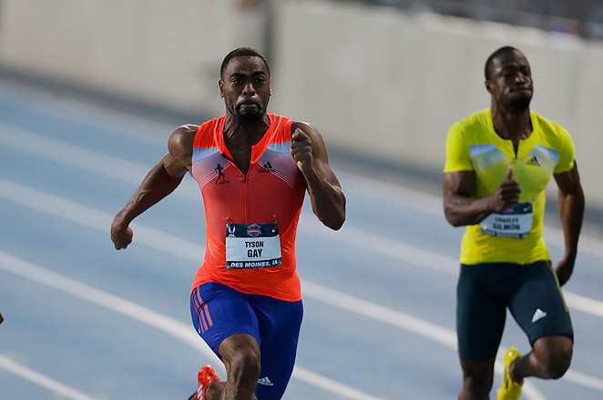 Tyson Gay won his opening heat of the 200 at the U.S. track championships in 20.14 seconds.