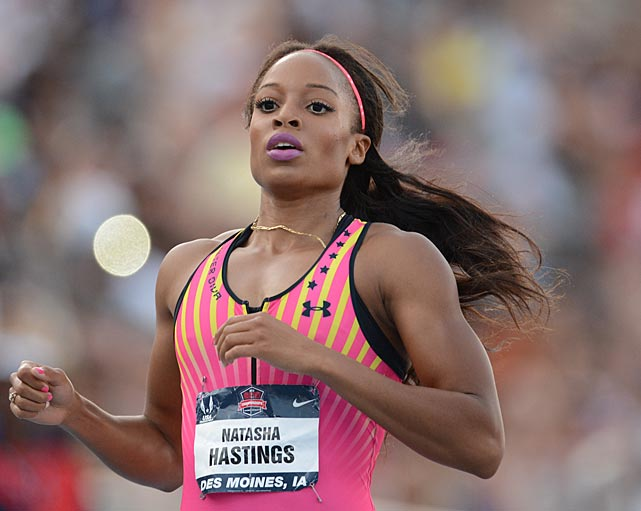 A member of the U.S. gold medal-winning 4x400 relay team in Beijing, Natasha Hastings took the women's 400 with a time of 49.94.