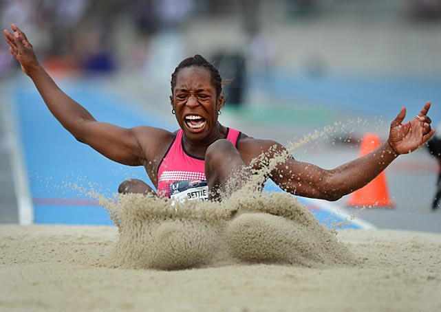 Bettie Wade competes during the heptathlon long jump.