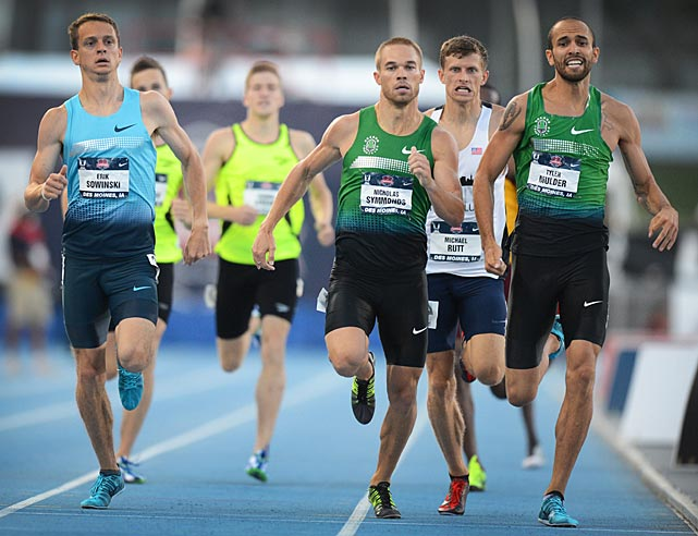Erik Sowinski, Nicholas Symmonds and Tyler Mulder were among the top four finishers in their 800-meter semifinal and advanced to the next day's final.