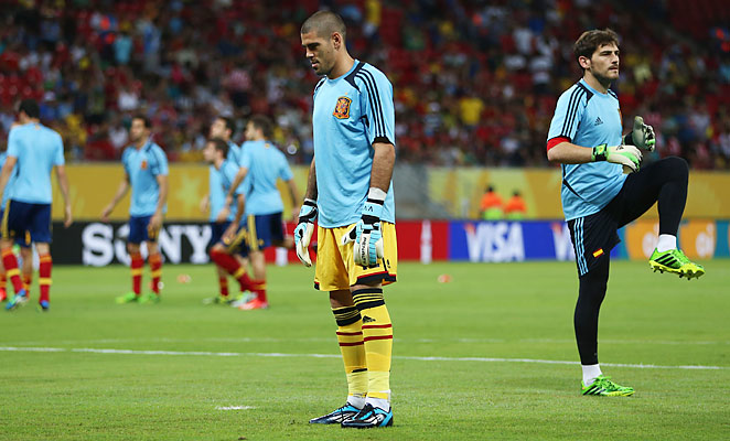 Valdes (center) has been confined to the bench through Spain's first two games of the tournament.